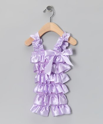 Lavender Satin Ruffle Romper - Infant & Toddler
