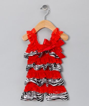 Red Zebra Satin Lace Ruffle Romper - Infant & Toddler
