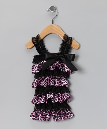 Black & Pink Cheetah Satin Lace Ruffle Romper - Infant & Toddler