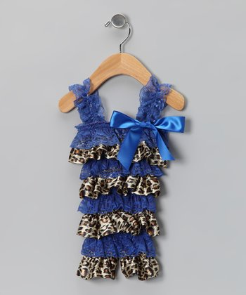 Blue Leopard Satin Lace Ruffle Romper - Infant & Toddler