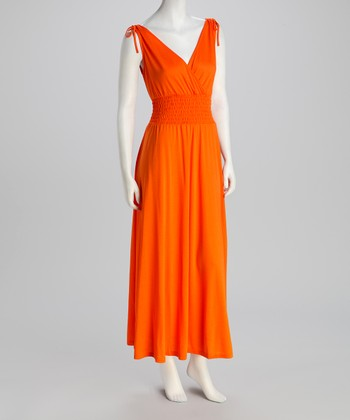 Bright Orange Shirred Surplice Maxi Dress