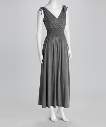 Charcoal Gray Shirred Surplice Maxi Dress