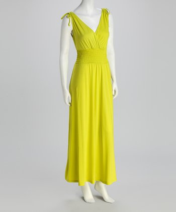 Green Shirred Surplice Maxi Dress