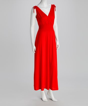 Red Shirred Surplice Maxi Dress