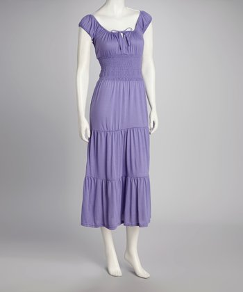 Lavender Cap-Sleeve Dress