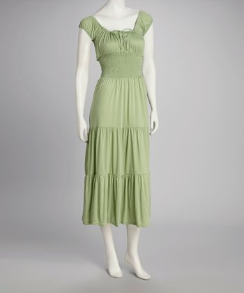 Lime Cap-Sleeve Dress