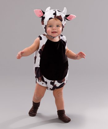 Black & White Cow Bubble Dress-Up Outfit - Infant