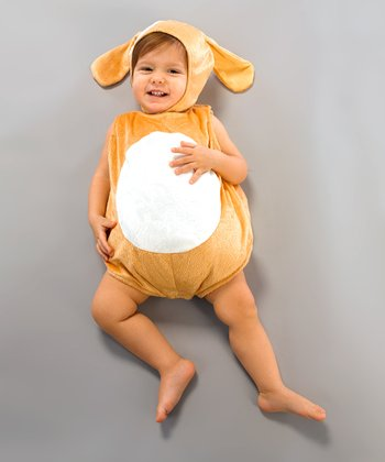 Tan & White Puppy Bubble Dress-Up Outfit - Infant