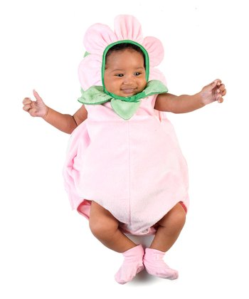 Pink & Green Flower Bubble Dress-Up Set - Infant