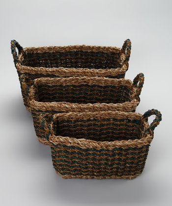 Blue Rectangle Basket Set