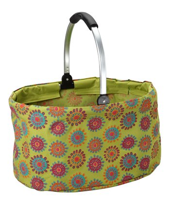 Green Flower Folding Market Basket