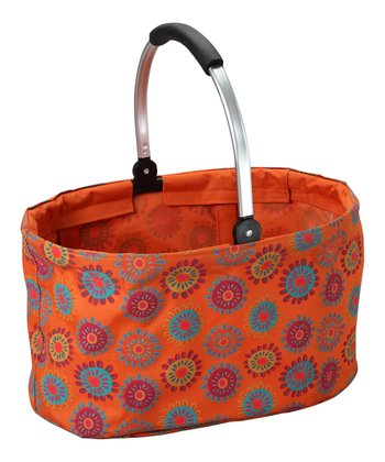 Orange Flower Folding Market Basket
