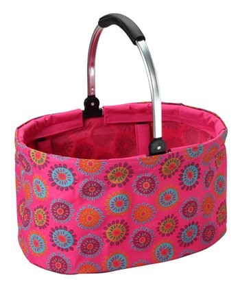 Pink Flower Folding Market Basket