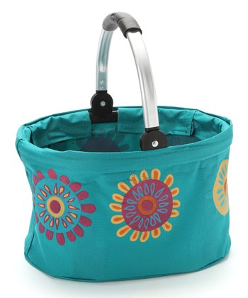 Blue Flower Mini Folding Market Basket
