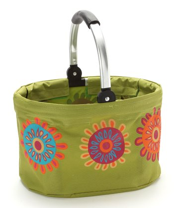 Green Flower Mini Folding Market Basket