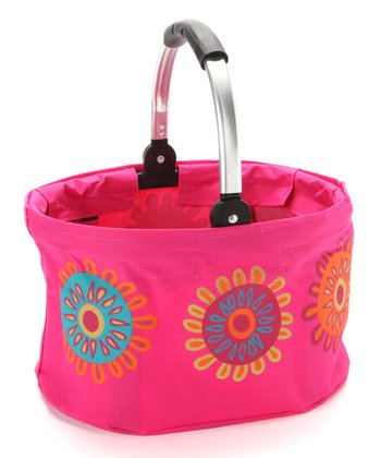 Pink Flower Mini Folding Market Basket