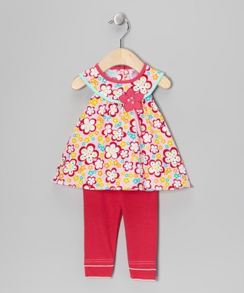 Red Floral Yoke Tunic & Leggings - Infant