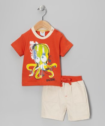 Orange & Khaki Octopus 'Dude' Tee & Shorts