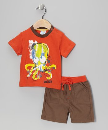 Orange & Olive Octopus 'Dude' Tee & Shorts