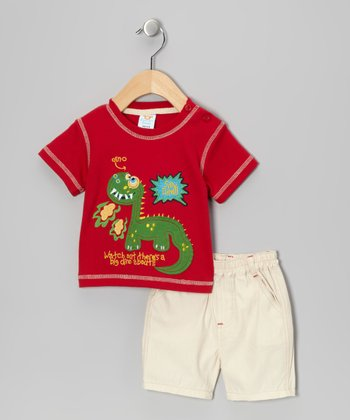 Red 'Silly Dino' Tee & Shorts