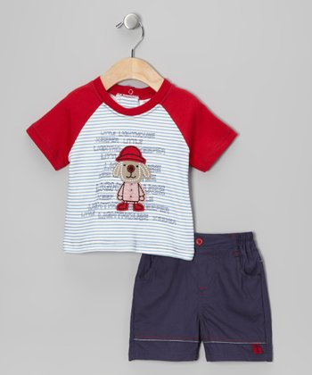 Red Stripe Puppy Raglan Tee & Shorts
