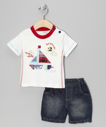 White Sailboat Tee & Shorts