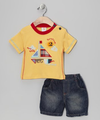 Yellow Sailboat Tee & Shorts