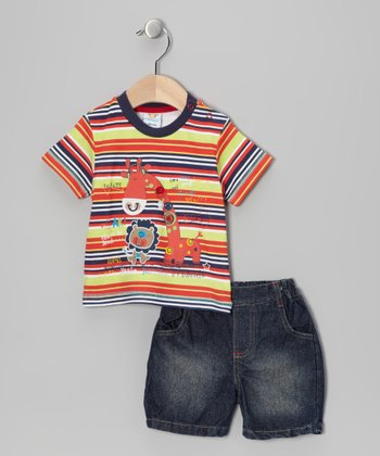 Orange Stripe Giraffe Tee & Shorts