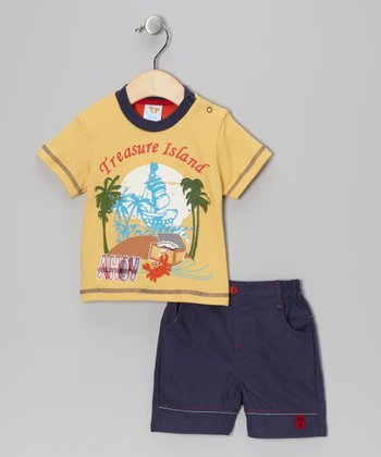Yellow 'Treasure Island' Tee & Shorts