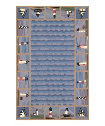 Lighthouse Waves Colonial Wool Rug