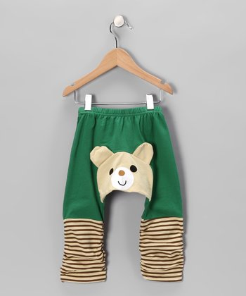 Dark Green Bear Pants - Infant