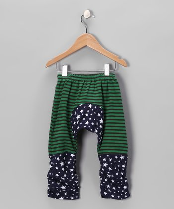 Dark Green & Blue Stars Pants - Infant