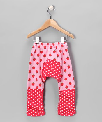 Pink Polka Dot Strawberry Pants - Infant