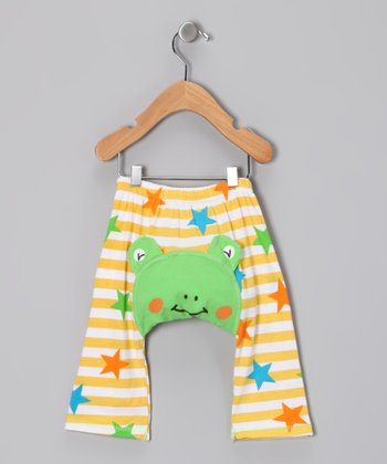 Green & Yellow Star Frog Pants - Infant