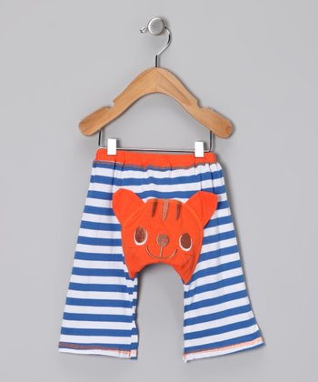 Blue & Orange Tabby Cat Pants - Infant