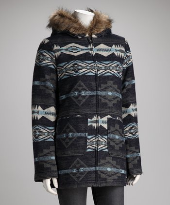 KC Collections Blue Tribal Faux Fur Collar Coat - Women