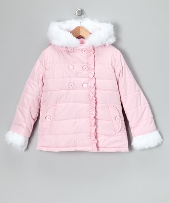 Pink Double-Breasted Puffer Coat - Toddler