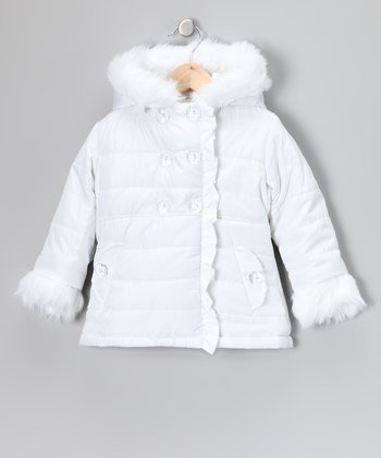 White Double-Breasted Puffer Coat - Toddler
