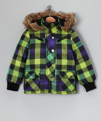 Green & Purple Plaid Puffer Coat - Girls