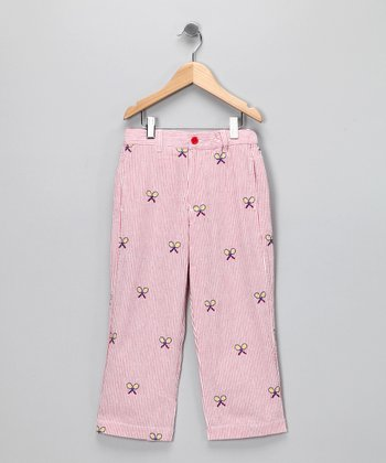 Red Stripe Racquet Seersucker Pants - Toddler & Girls