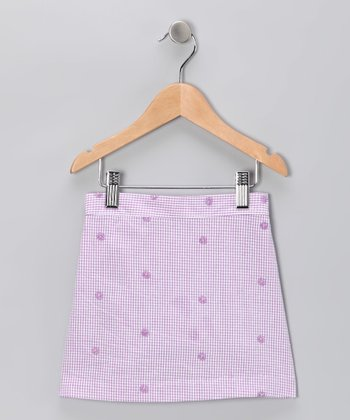 Lavender Gingham Flower Skirt - Toddler & Girls