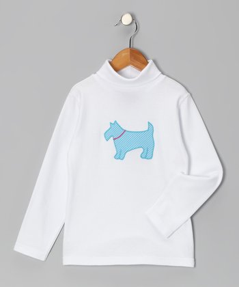 White Scottie Dog Turtleneck - Toddler & Girls