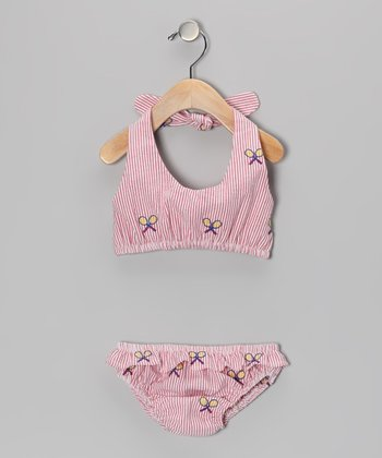 Red Racquet Seersucker Bikini  - Infant, Toddler & Girls