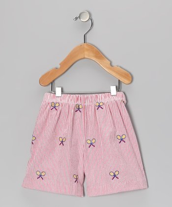 Red Racquet Seersucker Shorts - Infant & Toddler