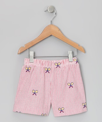 Red & White Racquet Seersucker Shorts - Infant
