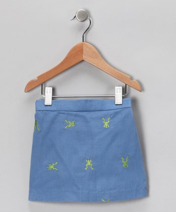 French Blue Frog Corduroy Skirt - Toddler & Girls