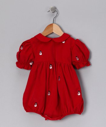 Red Snowman Corduroy Bubble Bodysuit - Infant