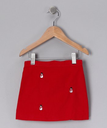 Red Snowman Corduroy Skirt - Infant, Toddler & Girls
