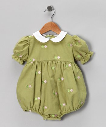 Leaf Green Argyle Corduroy Bubble Bodysuit - Infant