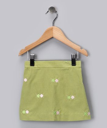Leaf Green Argyle Corduroy Skirt - Infant, Toddler & Girls